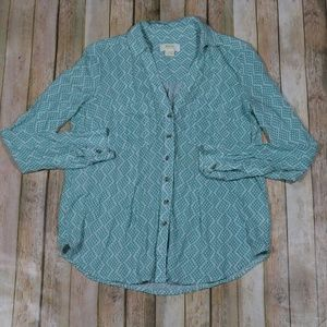 Anthropologie Maeve Button Down Blouse Geo Spring